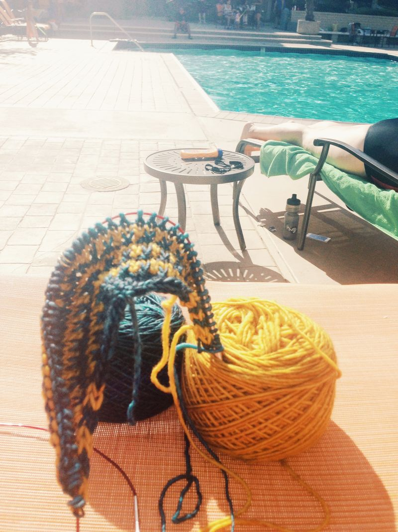 Knitting poolside 8-18